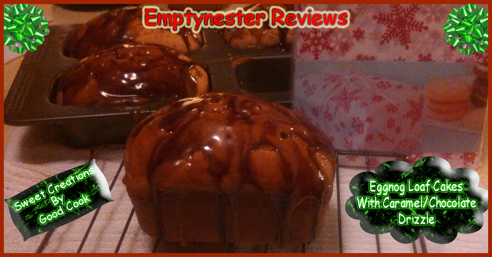 Eggnog loaf cake with Caramel/chocolate drizzle recipe using #SweetCreations 4-cup Loaf pan