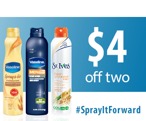 High Value Vaseline or St. Ives Coupons for $2 off