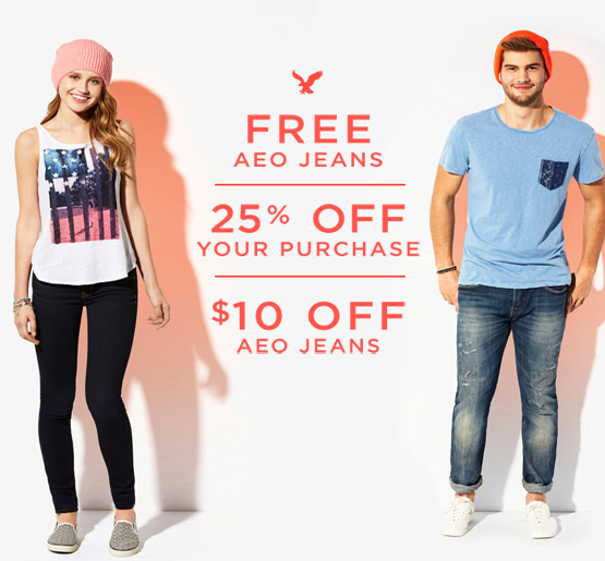You can possibly  get a FREE pair of American Eagle Jeans!