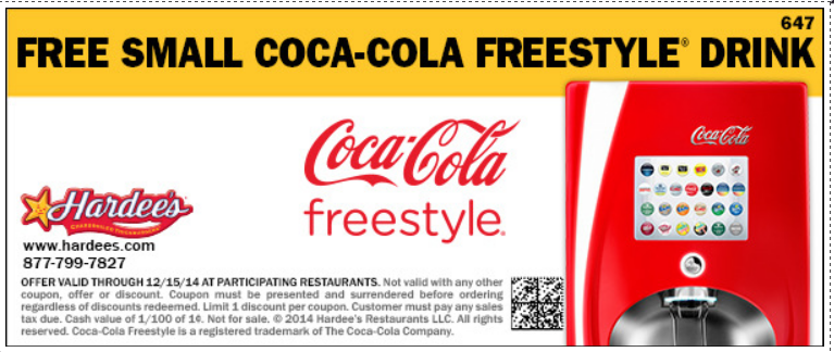 Get a FREE Small Coke at Hardee's!