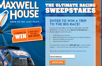 Maxwell House 'Ultimate Racing' Instant Win Game