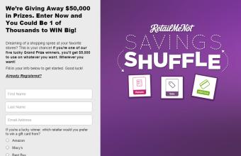 RetailMeNot 'Savings Shuffle' Instant Win Game